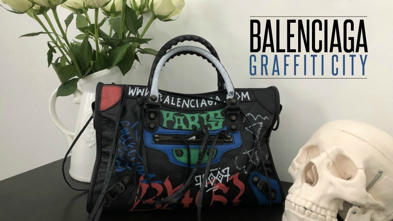 HANDBAG REVIEW  BALENCIAGA GRAFFITI CLASSIC CITY S  698b314767f8e