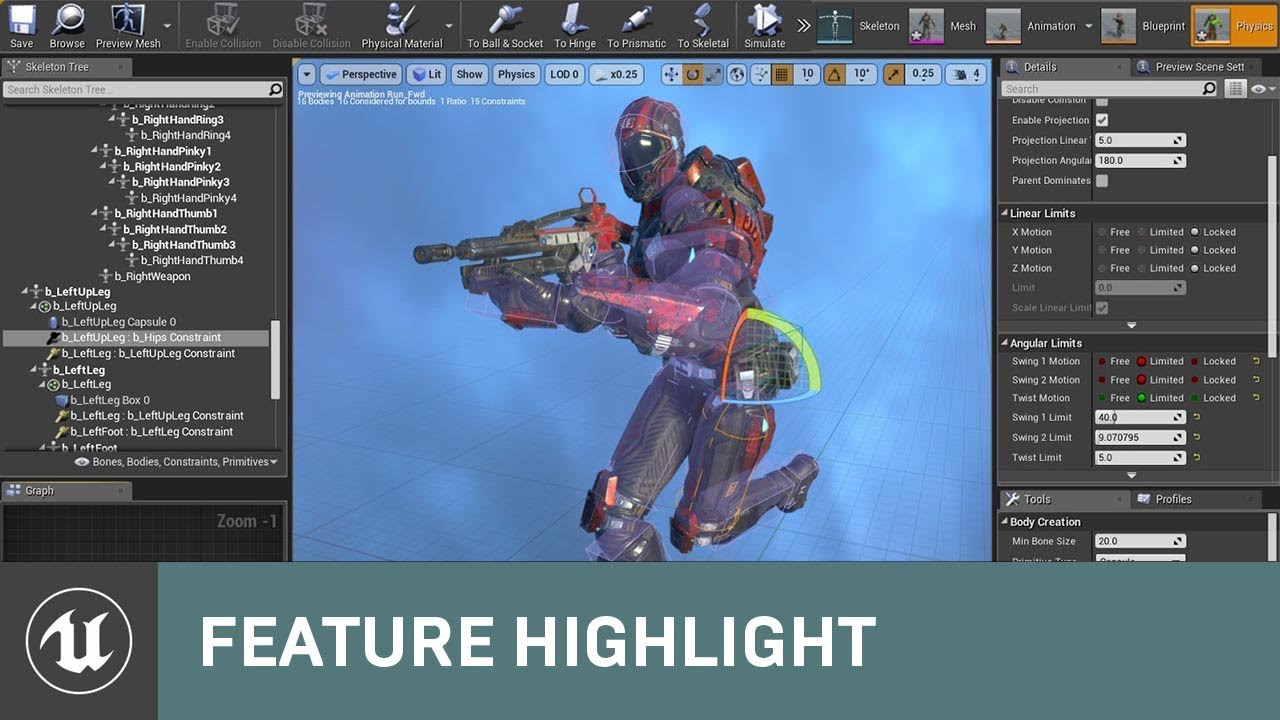 Physics Asset Editor Updates in 4 18 | Feature Highlight | Unreal Engine  Livestream
