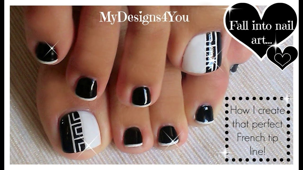 Greek Style Toenail Art Monochrome Pedicure Diseo De Uas De
