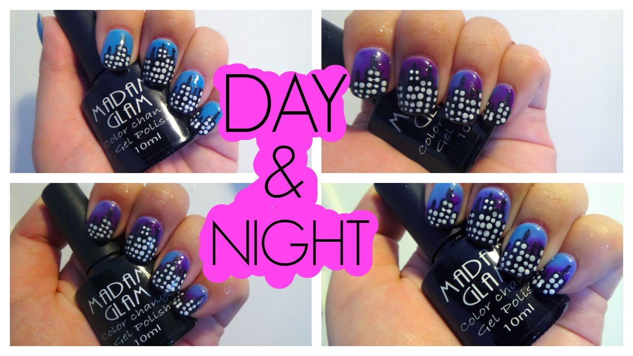 color changing gel polish city skyline day and night nail art