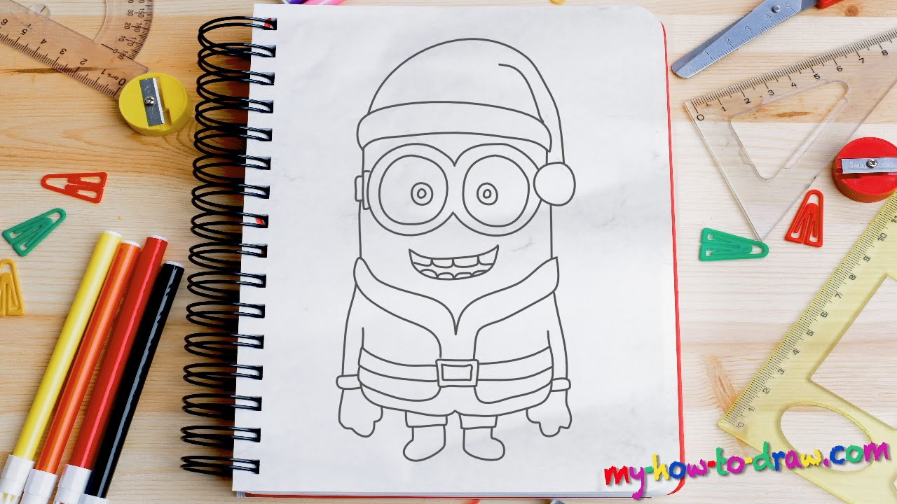 How To Draw A Minion Santa Claus  Easy Stepbystep Drawing Lessons For  Kids  Youtube