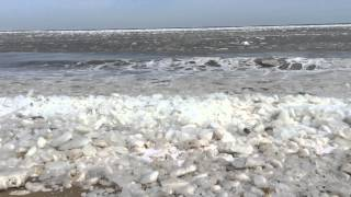 Take a peek of the large pieces of ice floating in the Atlantic Ocean. We hope Beach Delaware. Rare