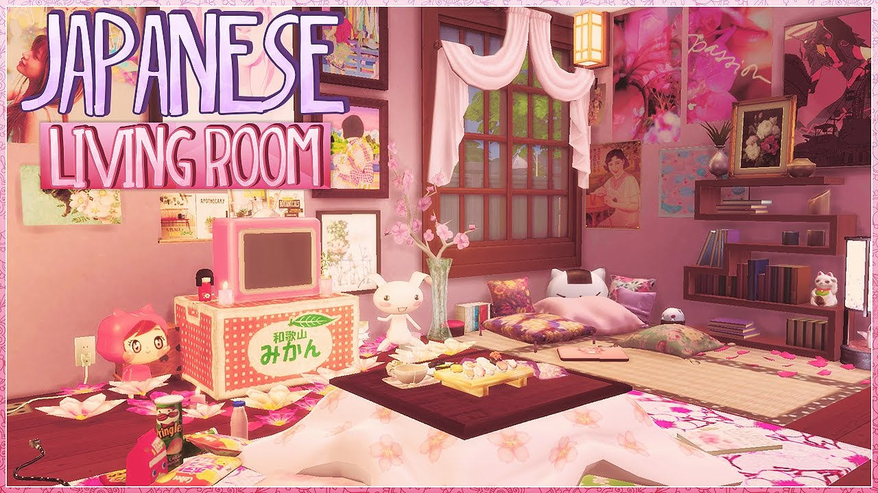 Sims 4:Cute Japanese Inspired Living Room|CC🌸   YouTube