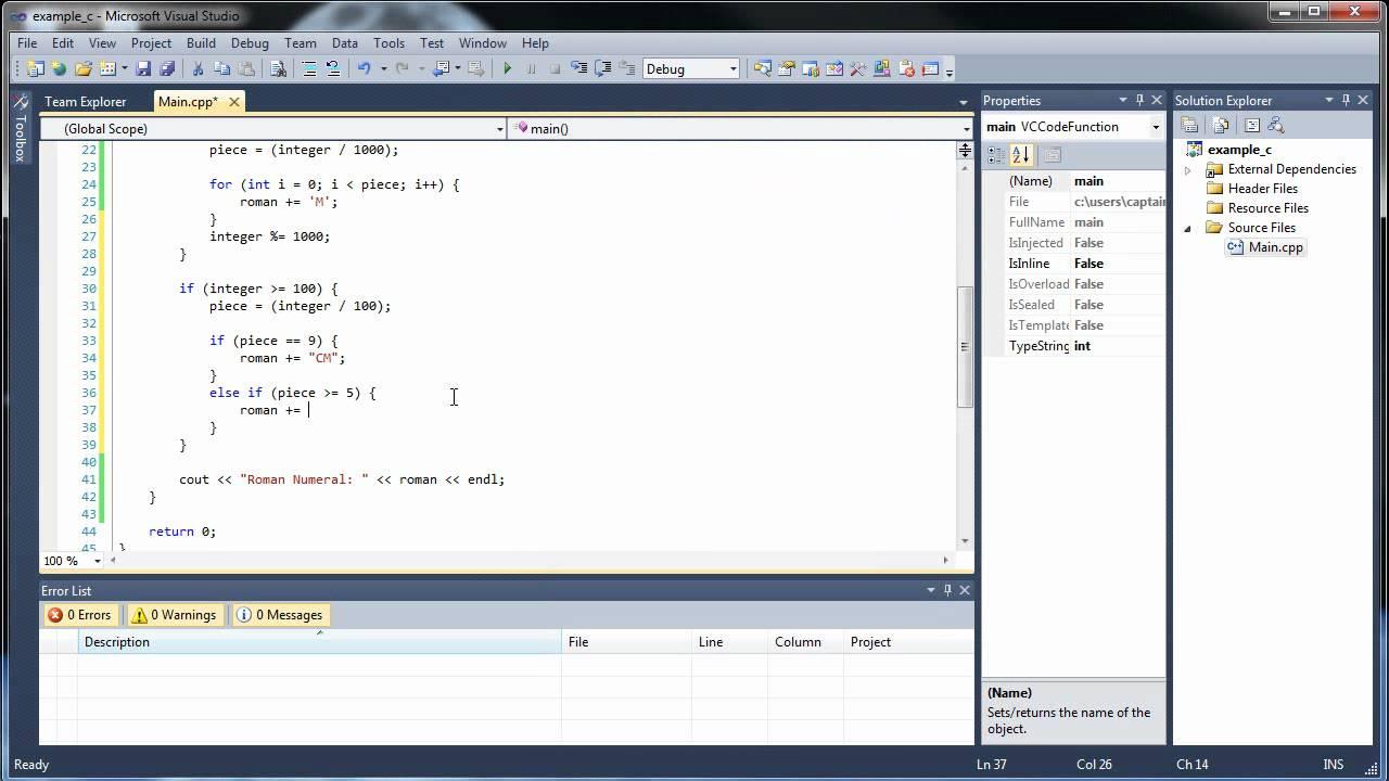 Roman numerals calculator - C Project 2 Convert Integers To Roman Numerals
