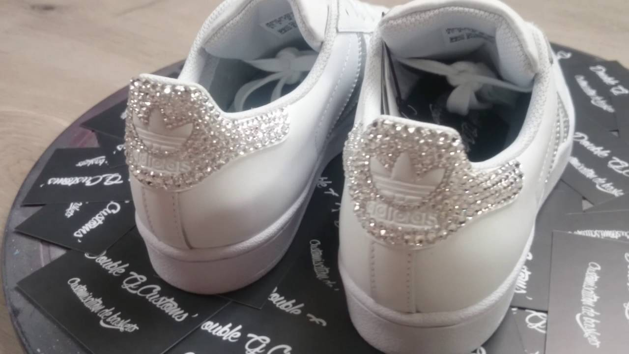 Adidas Superstar Glitter Silver & Swarovski by Double G Customs - YouTube