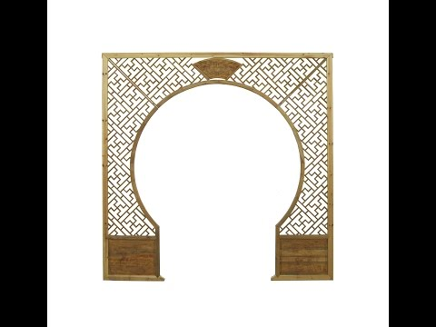 Chinese Light Natural Wood Around Arch Wood Room Divider cs739