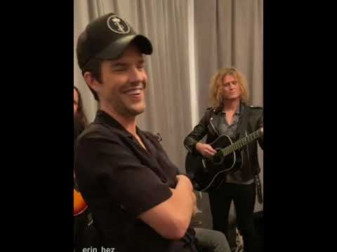 The Killers playing an acoustic set backstage at NYC Homecoming