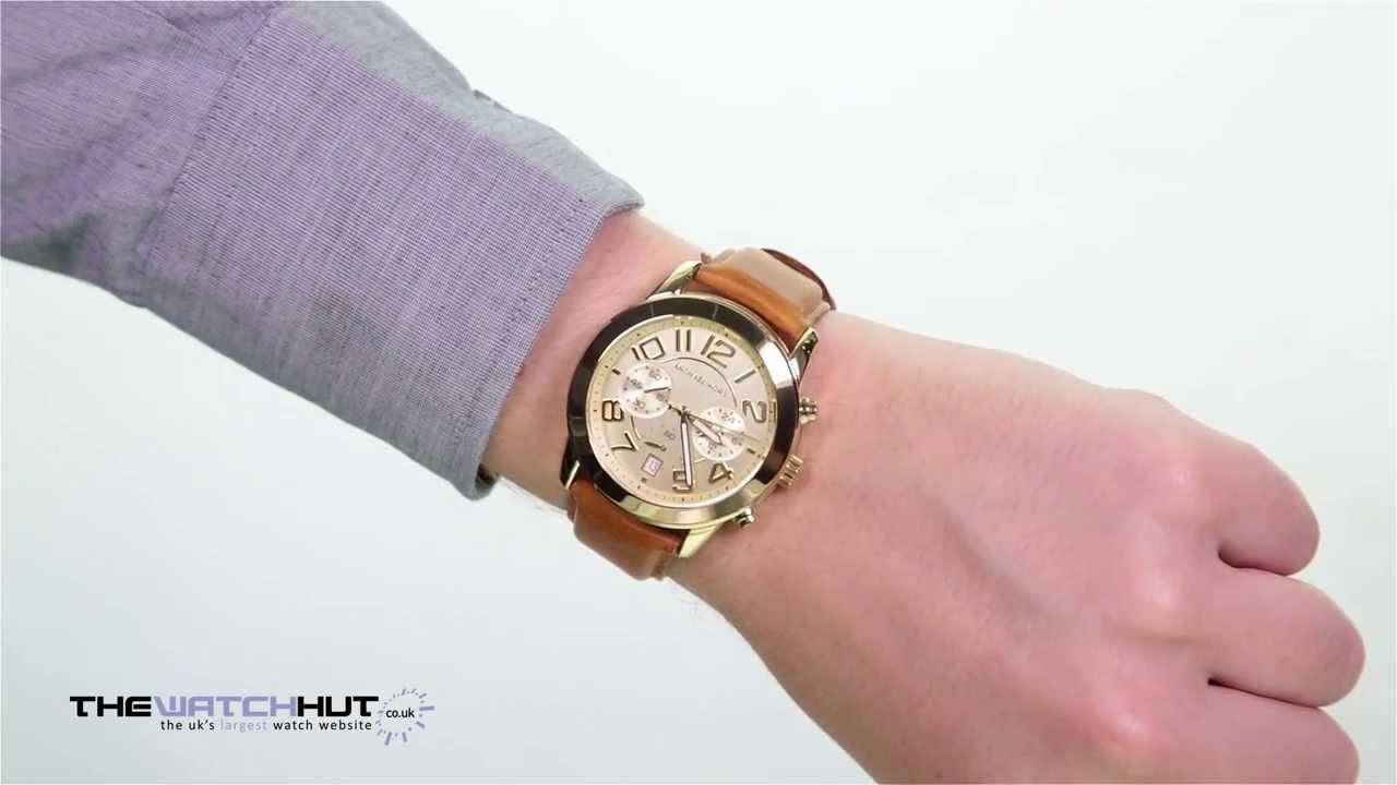 47b6c67a142b Michael Kors Gents Brown Leather Strap Watch MK2251 - YouTube