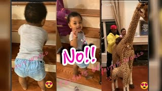 Cardi B & Offset's Daughter Kulture Saying No Climbing The Stairs & Playing With Birthday Gifts
