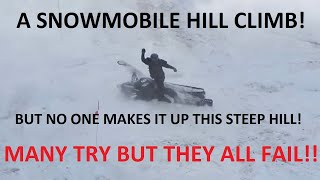 Epic Snowmobile Hill Climb!