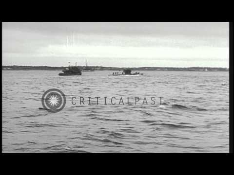 German submarine U-234 underway in the Atlantic Ocean after being captured by the...HD Stock Footage