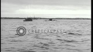 German submarine U-234 underway in the Atlantic Ocean after being captured by the...HD Stock Footage