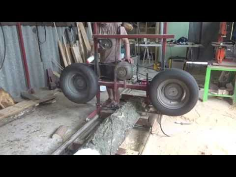 homemade sawmill - wheel crash