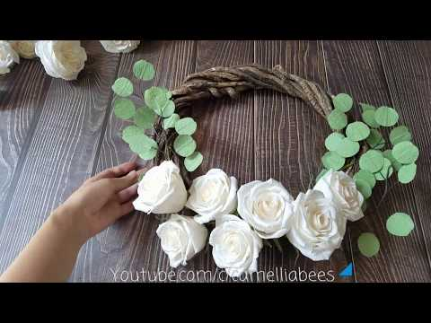 DIY Paper flower wreath making with white crepe paper roses