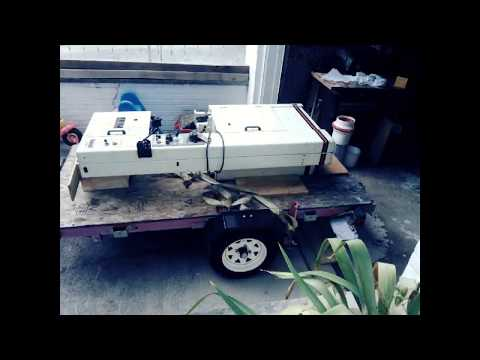 Unloading a Jet VBS 1610 band saw from Harbor freight folding trailer.