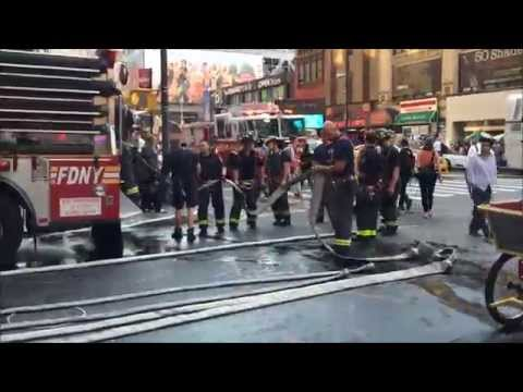 FDNY RESPONDING & OPERATING AT QUICK SMALL ALL HANDS LAUNDRY CHUTE FIRE ON 8TH AVE. IN MIDTOWN, NYC.