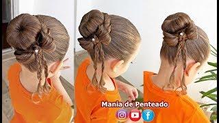 Penteado Infantil com coque e laço de cabelo thumbnail