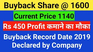 BUYBACK SHARE @ 1600 & Rs 450 Profit कमाने का मौका - Buyback Record Date Declared by Company Eclerx