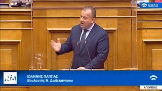 Ομιλία στη Βουλή του Βουλευτή Δωδ/σου Ιωάννη Παππά στο Σ/Ν του Υπ. Ψηφιακής Διακυβέρνησης 22/9/2020