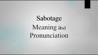 How To Pronounce Sabotage Youtube 8 14