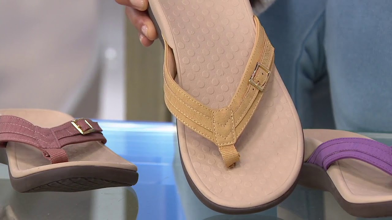 Vionic Thong Sandals with Buckle Detail - Tide Patty on QVC - YouTube