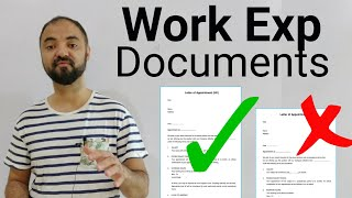 Work Experience Proof Documents required