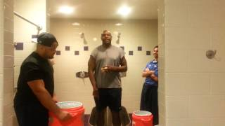 Storm head coach Lawrence Samuels does ALS Ice Bucket Challenge