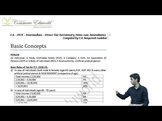 CA IPCE/ Inter DT 1 Day - May 19 & November 19 Exams - Superquick Revision by CA Mayuresh Sadekar