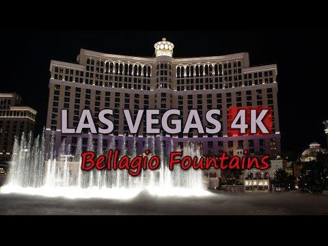 Ultra HD 4K Las Vegas Travel Bellagio Dancing Water Fountains Night Show UHD Video Stock Footage