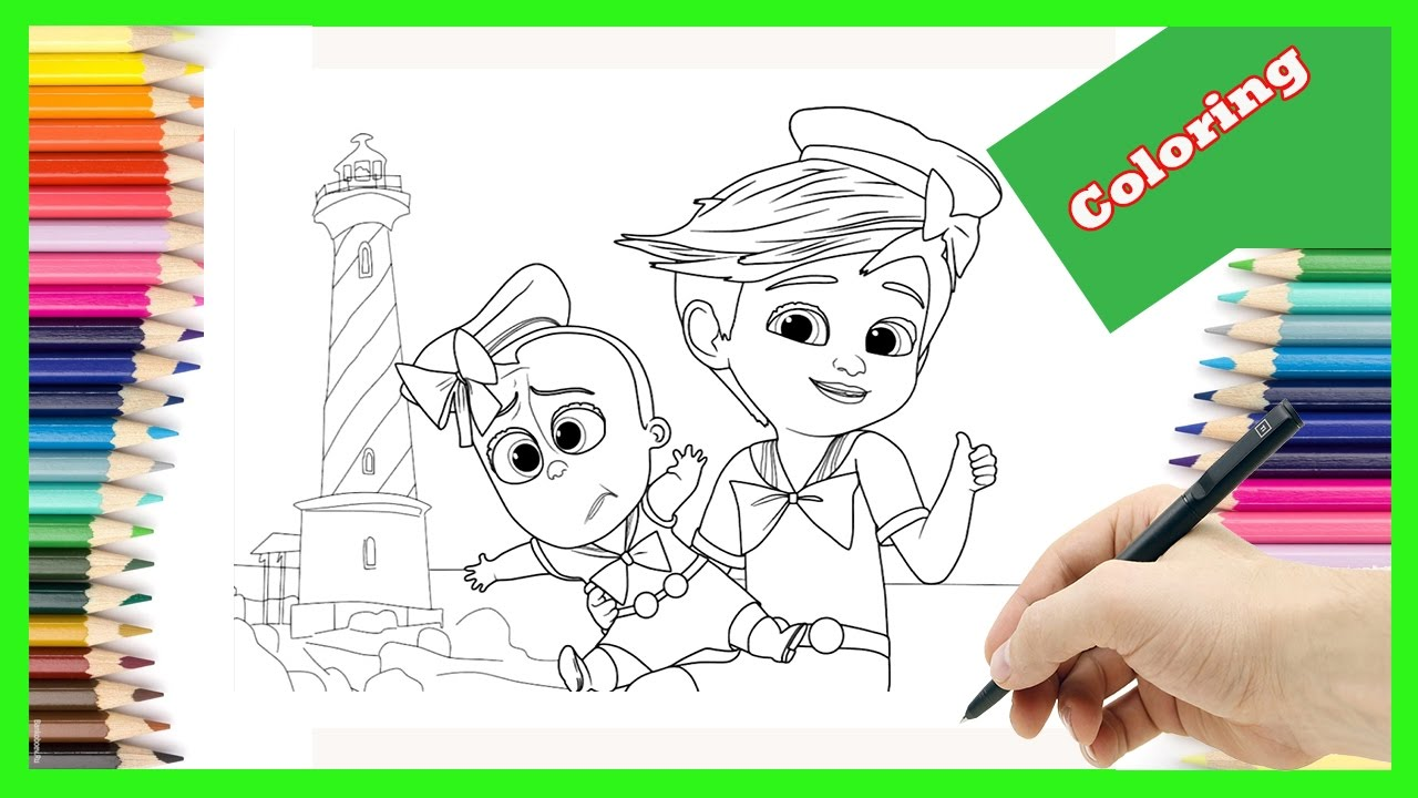 tim and the boss baby up for some adventure coloring pages for