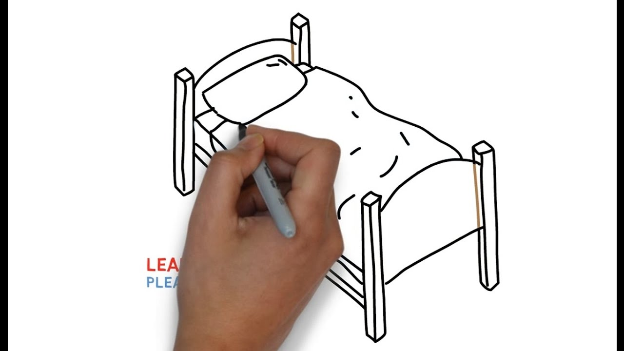 Kids Bedroom Drawing easy step for kids how to draw a bed - youtube