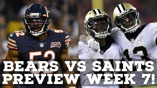 Chicago Bears Vs. New Orleans Saints Week 7 2019 PREVIEW & PREDICTION!