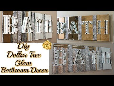 DIY DOLLAR TREE BATHROOM DECOR   GLAM BATH SIGN DECOR   DIY GLAM BATHROOM ON A BUDGET
