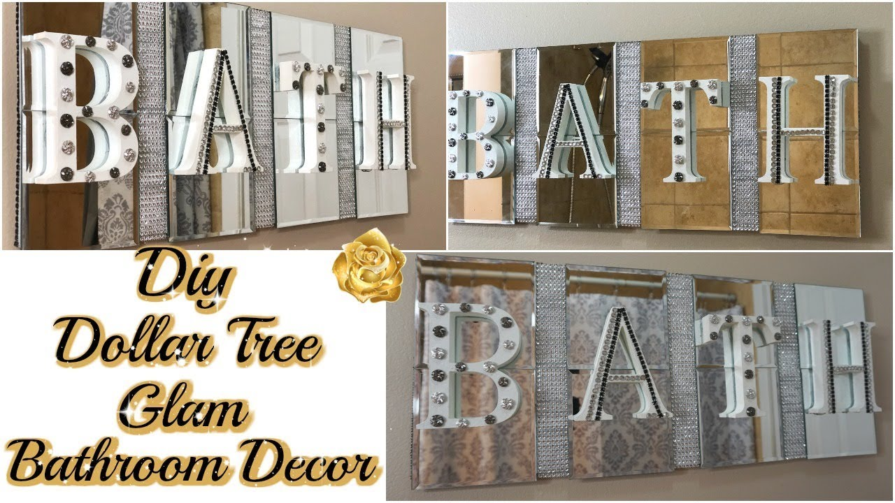 DIY DOLLAR TREE BATHROOM DECOR  GLAM BATH SIGN DECOR  DIY GLAM BATHROOM  ON A BUDGET