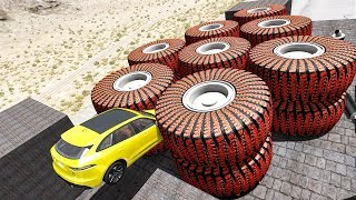 Beamng Drive - Crush Cars with Large Wheels #3