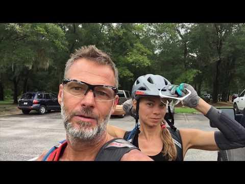 mountain biking on the rocks!  at Santos mtb bike trails Ocala Florida