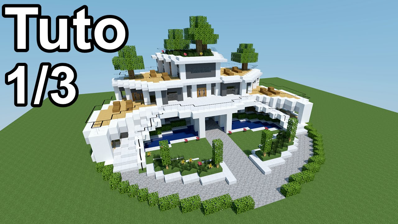 Minecraft tutoriel maison moderne 1 3 youtube for Plan maison minecraft moderne