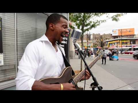 Nasim Siddeeq street performing at Fordham Plaza
