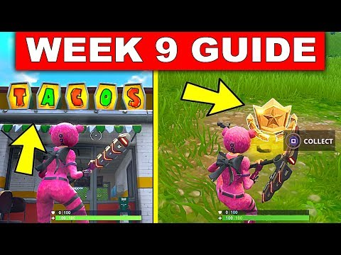 Fortnite WEEK 9 CHALLENGES GUIDE – SEARCH BETWEEN MOVIE TITLES, 3 TACO LOCATIONS (Fortnite Season 4)