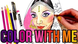 Diwali Look 2016 || Indian Girl Coloring Page || Color with Me!