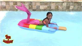 Fun Playtime with Inflatables and Ball Pit Live Mermaid's Tale 2 In Our Pool   Toys Academy