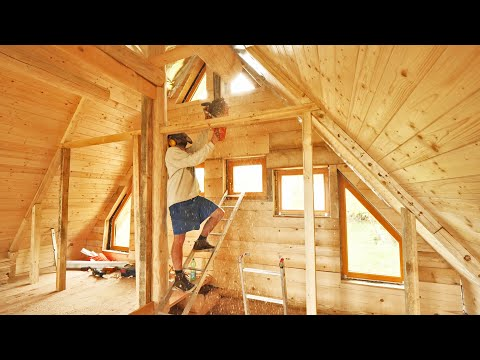 Off Grid LOG CABIN Build / Dividing Loft into Two Rooms (S3 Ep8)