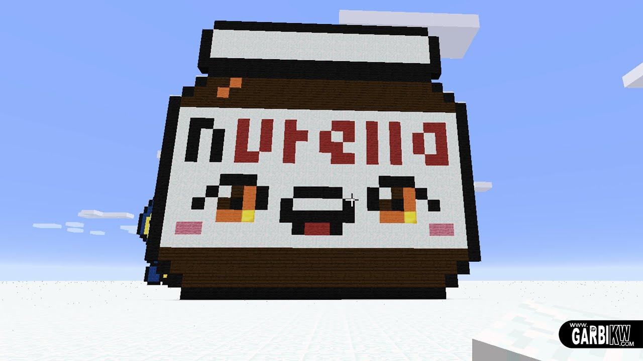 Minecraft Pixel Art How To Make A Kawaii Nutella By Garbi Kw Pixelart