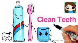 How to Draw a Cute Tooth Brush, Tooth Paste and Floss Easy