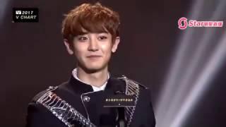 170408 Chanyeol for winning Most Popular Korean Artist in 5th V Chart Awards