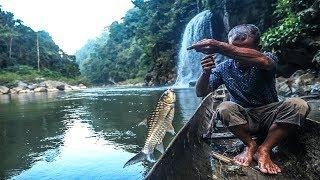 Nelayan pedalaman Aceh sangat tangguh di sungai besar   tangkap ikan dengan umpan buah sawit, part 1