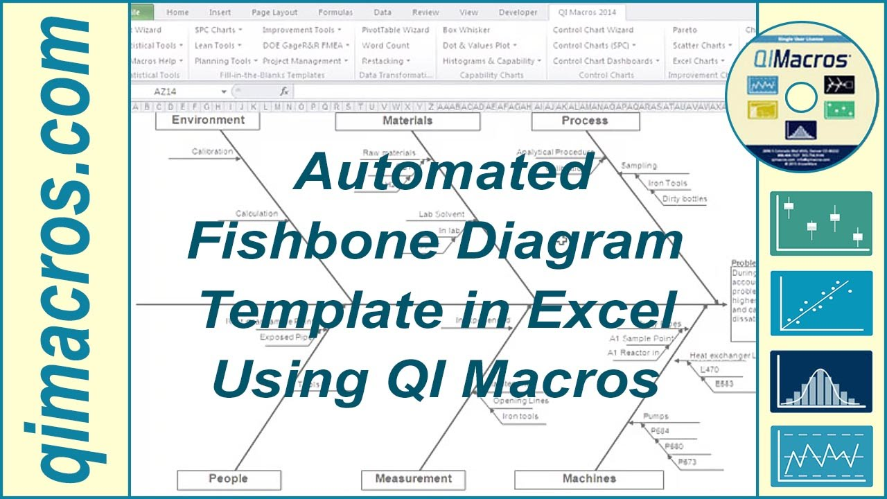 fishbone diagram template automated in excel using qi macros youtube