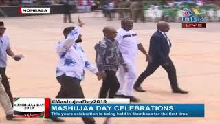 Raila Odinga gets warm reception at Mama Ngina waterfront || #MashujaaDay