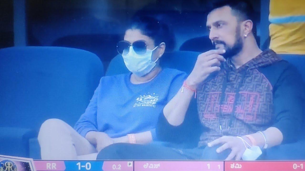 Download Kiccha Sudeepa  at Dubai   Watching IPL2021 Live In Stadium   RR vs PK   Talkies Boy