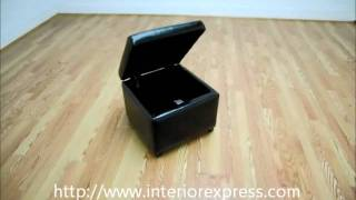 Interiorexpress Linden Black Leather Small Storage Cube Ottoman With Safety Hinge